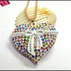 BETSEY JOHNSON~ Heart N Bow Necklace